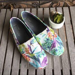 Women's Toms Classics Watercolor Floral Print Flat